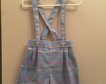 4T, Vintage Classic Baby Clothes, Blue Plaid Shorts with Straps