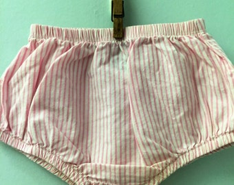 12 month, Classic Baby Bloomers, Pink and White Striped