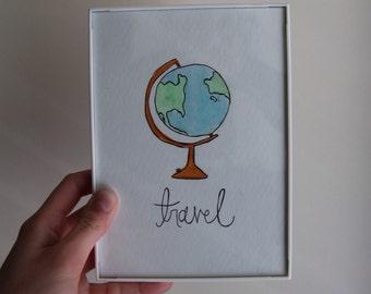 Travel 5x7 Original Watercolor