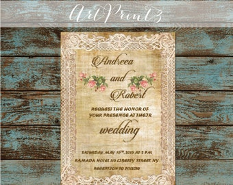 Vintage Printable Wedding Invitation, Floral Wedding Invitation, Vintage Paper Wedding Invitation, Printable Wedding Suite, Vintage Roses