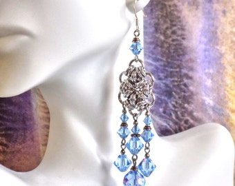 Triple Chandelier Earrings with Swarovski Light Sapphire Crystal Beads and Chainmaille Rings, Sterling Silver French Earwires