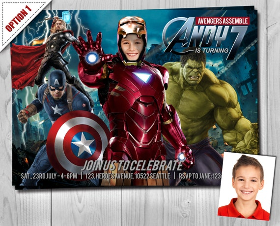 Avengers Birthday Invitation - Iron Man, Thor, Captain America, The Hulk, Black Widow, Hawkeye - Super Heroes - Customizable Photo