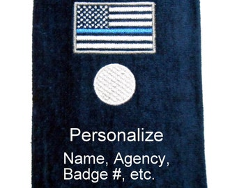 Golf towel, thin blue line, police gift, personalized golf, embroidered towels, gift for cop, customized golf, law enforcement, retirement