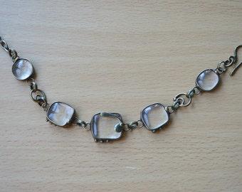 Handmade, Transparent Fused Glass, Brass, Bracelet
