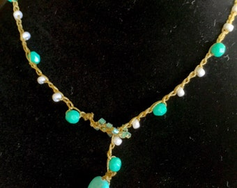 N09 Bead Crochet Lariat Necklace Topsail Turquoise
