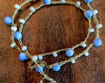 Periwinkle Blue Beaded Crochet Bracelet or Lariat Necklace