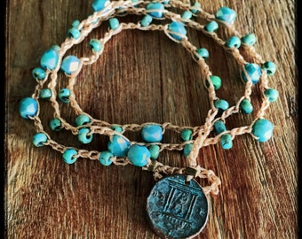 Penny For Your Thought Bead Crochet Bracelet or Lariat Necklace
