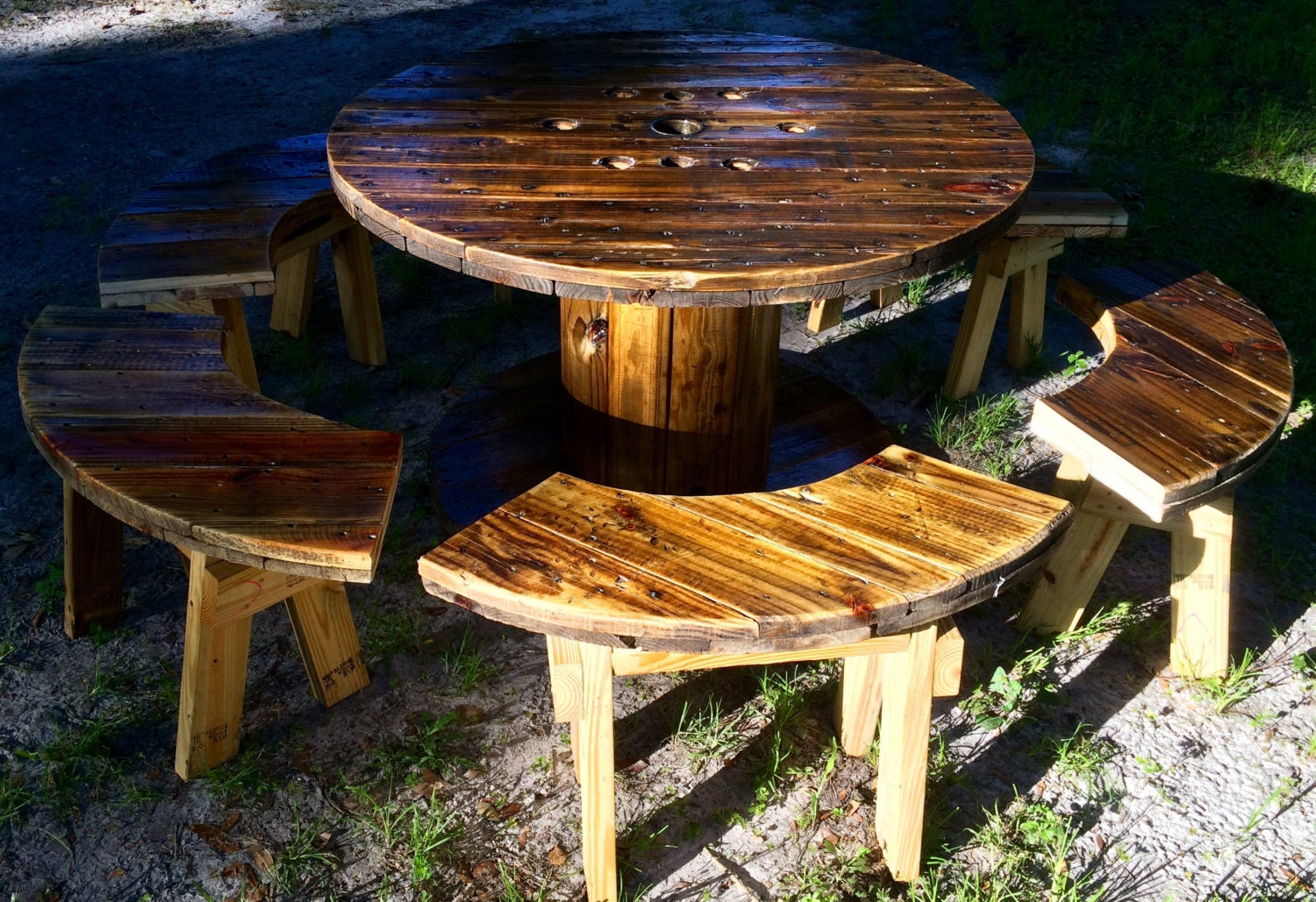 Wire spool table with benches for Wire reel furniture