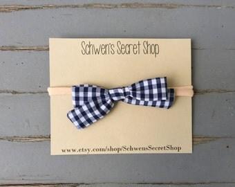 Blue gingham bow, baby girl headband, hand tied bow, fabric bow headband, baby headband, navy hair bow, newborn headband, infant headband