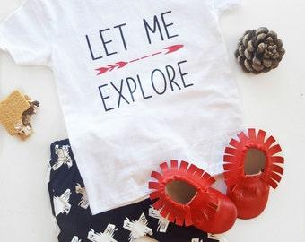 let me explore, boho baby, boho tees, arrows, fashion baby, explore, boy tees