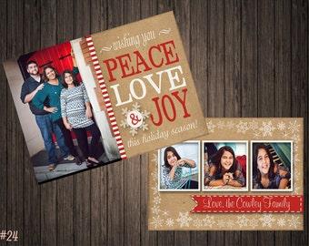 Peace Love & Joy 2 Sided Photo Holiday/Christmas Card (24)