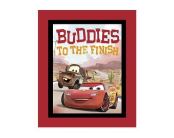 """Disney Cars-Buddies to the Finish Fabric Panel-Mater and McQueen-27 x 40"""""""