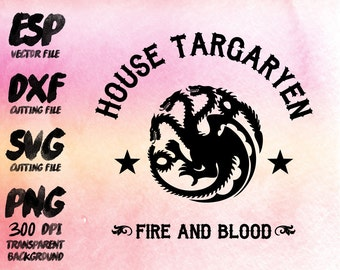 game of thrones House Targaryen Clipart , SVG Cutting , ESP Vectors files , T shirt , iron on , sticker ,Personal Use