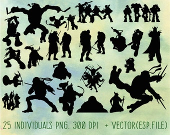TMNT Teenage Mutant Ninja Turtles  Silhouettes  clipart, Clip Art,T shirt, iron on, sticker, Vectors files ,Personal Use