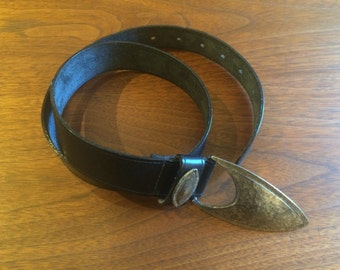 Black Leather Belt with DecorativeDecorative Buckle