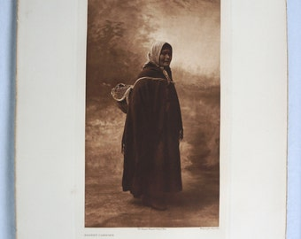 Vintage Original Edward S. Curtis Photogravure (Basket Carrier print) from The North American Indian 1907-1930