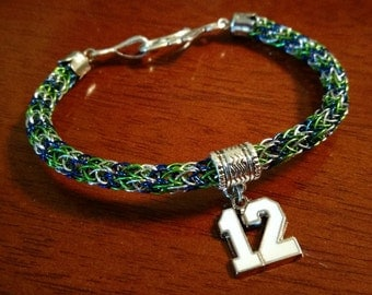 Seahawks Viking Knit Bracelet with 12th Man Charm