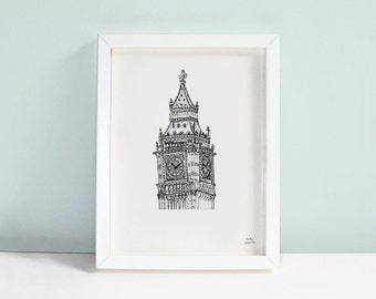 Big Ben London Print Limited Edition Signed A5 Wall Art
