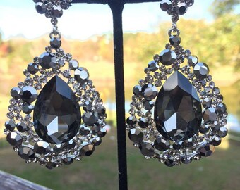 Black Earrings | Black Chunky Earrings | Large Black Earrings | Black Pageant Earrings | Big Black Earrings | Bling Jewelry | 202-7