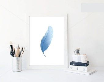 Blue Feather, Digital art, Home decor, Wall decor, Wall art, Printable