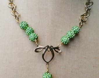Shamballa Green Ball and Heart Assemblage Necklace - NRU256