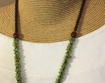 Green Peridot Brown Glass Beaded Crocheted Necklace