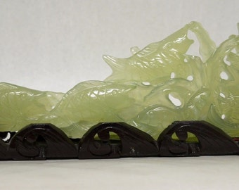 """Vintage 15"""" Natural Green Jade Carving of a School of Koi Fish Sculpture"""