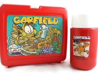 Vintage Garfield Red Plastic Lunch Box with Thermos
