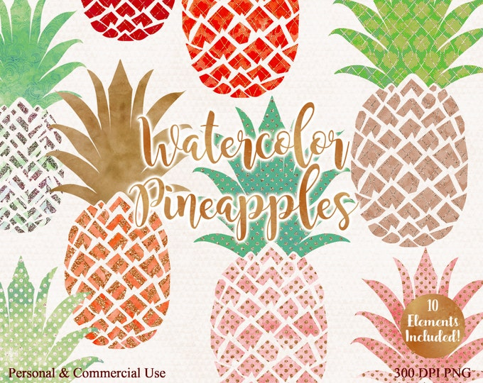 CORAL & PEACH PINEAPPLE Clipart Commercial Use Clip Art Fun Tropical Clipart with Metallic Glitter 10 Watercolour Pineapple Planner Clip art