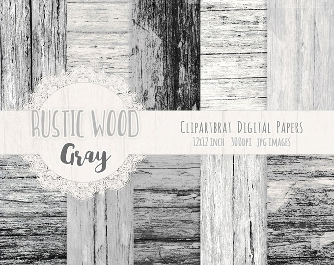 GRUNGE GRAY WOOD Digital Paper Pack Commercial Use Digital Background Distressed Barn Wood Paper Painted Wood Grain Scrapbook Paper Pack