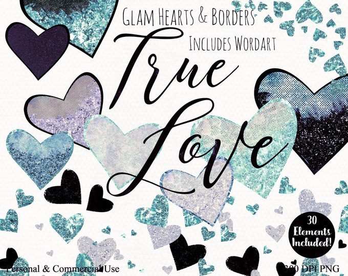 SILVER HEARTS WATERCOLOR Clipart Commercial Use Clip Art True Love Blush Pink Teal Navy Wordart Metallic Aqua Heart Confetti Wedding Clipart