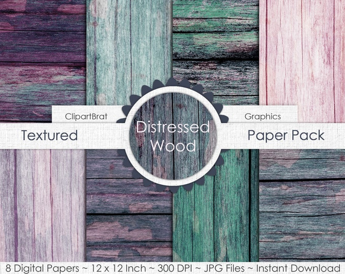 OLD BARN WOOD Digital Paper Pack Commercial Use Digital Background Pink Teal Gray Wood Grain Digital Paper Painted Distressed Wood Papers