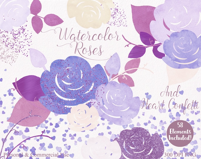 WATERCOLOR WEDDING Clipart Commercial Use Clipart 58 Watercolor Roses Pink Purple Floral Watercolor Confetti Hearts Invitation Clip Art