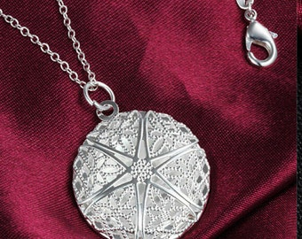 Lovely Lacework Round Locket Photo Locket Pendant and Chain Free Shipping