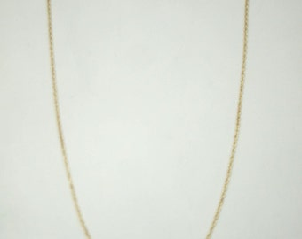 "Solid 10K Yellow Gold 16"" 1.0mm Rope Link Chain Necklace, 1.1 grams"
