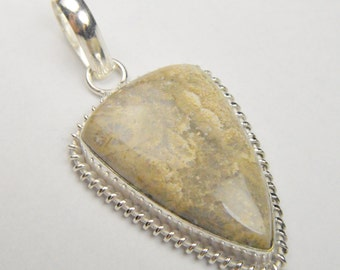 Beautiful Natural Fossil Coral Pendant Silver Plated; 50 x 25 mm