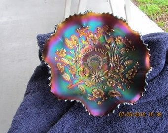 "8 3/4 "" Northwood Good Luck Carnival Glass Ruffled Bowl"
