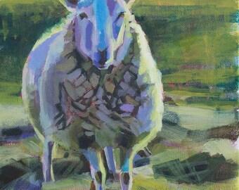 Sheep Art Print, Spirit Animal, Impressionist Painting, Fauvist, Pasture Art, Farm Art, Animal Art, Nursery Art, Whimsical