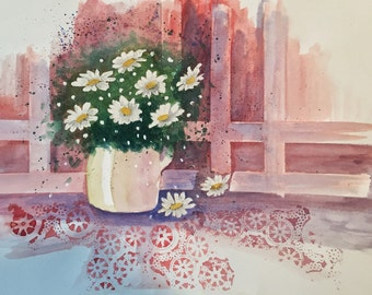 Daisies, original watercolor painting,11x14 painting