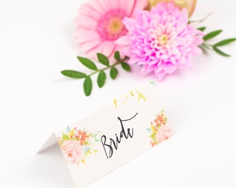 Floral Wedding Table Place Cards - Spring Blossom