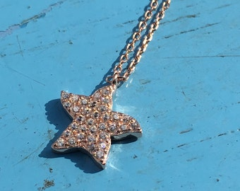 Sea Star Necklace CZ 925 Silver Yellow Rose Gold