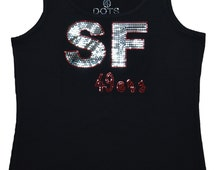 No Rhinestones San Francisco 49ers Football Bling Tank Top sequins Shirt
