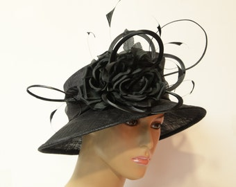 Black sinamay hat,beautiful,elegant,Kate Style Hat, Kentucky Derby Hat, English Royal Hat, Wedding, Church Hat, Formal Hat,white Dressy Hat,