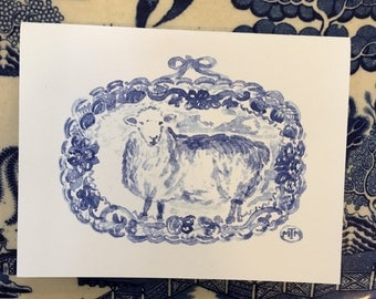 Blue and white transferware sheep platter cards