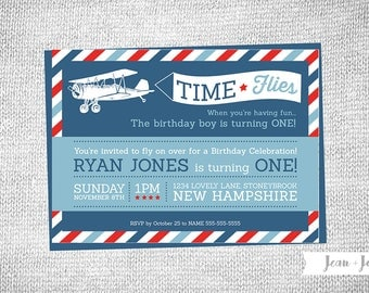 Airplane • Time Flies Birthday Party Invitation