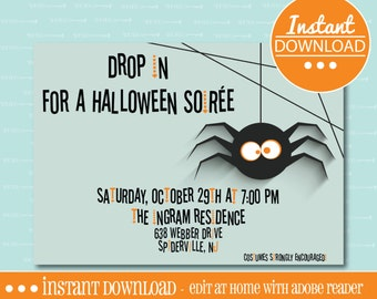 Halloween Party Invitation - Spider - EDITABLE - INSTANT DOWNLOAD - Editable File - Customize - Edit Yourself with Adobe Reader-Printable