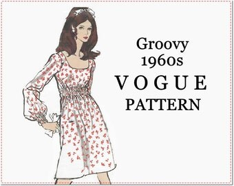 1960s Dress Sewing Pattern - Vintage Vogue 7569 - Easy One-Piece Long-Sleeved Misses' Dress - Size 12 Bust 34 - Very Easy Vogue Groovy Dress