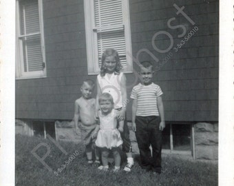 Playing Outside in the Summer 3 - Siblings - Friends - Children - Vintage Snapshot 1960s