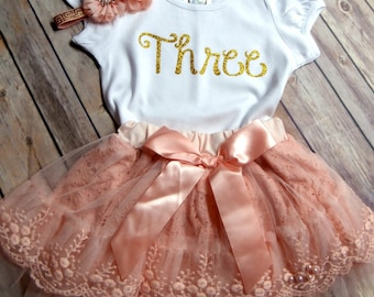 1st 2nd 3rd Birthday Girl Outfit CUSTOMIZE Third birthday outfit Girls Birthday Outfit Peach Lace and Tulle Skirt Cake smash photo prop