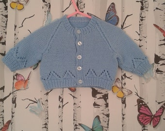 Baby Boy Cardigan, Knitted Cardigan, Hand Knitted, Blue Cardigan, Handmade